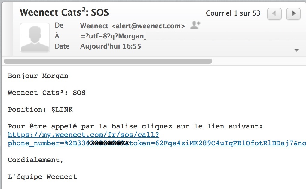 email SOS traceur gps